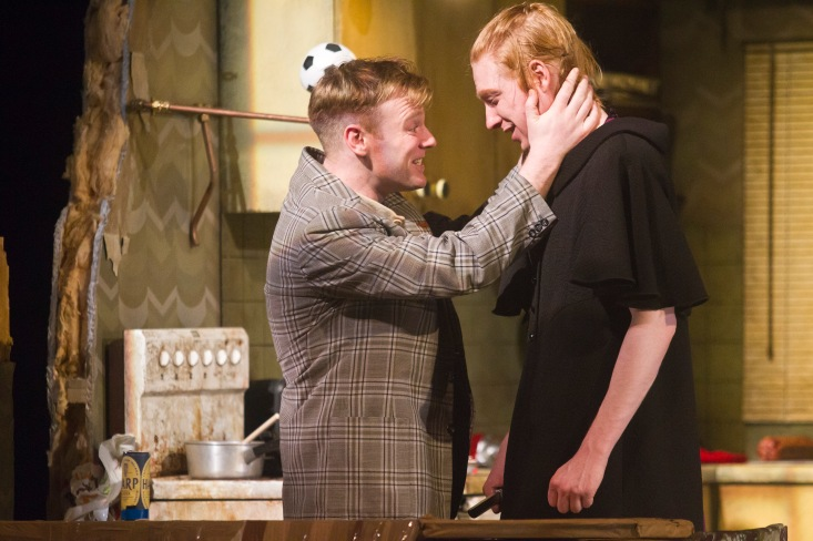 Brian Gleeson as Sean and Domhnall Gleeson as Blake in The Walworth Farce by Enda Walsh, directed by Sean Foley and produced by Landmark Productions. Photo: Patrick Redmond
